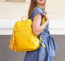 Load image into Gallery viewer, City Yellow Leather Backpack