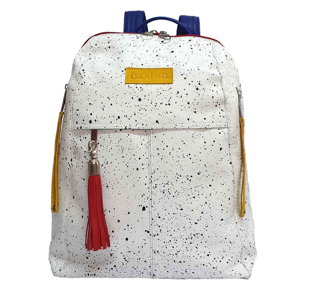 City Woman White Leather Backpack