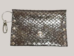 Metallic Fish Scale Leather Coin Purse