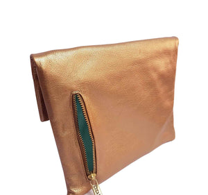 Rose Gold Leather Clutch