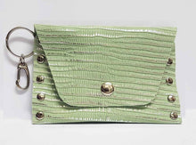 Load image into Gallery viewer, Clip-on Mint Green and Silver Leather Coin Purse