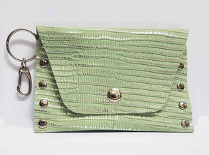Clip-on Mint Green and Silver Leather Coin Purse