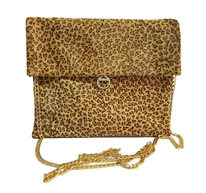 Leopard Hair on Hide Leather Clutch