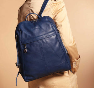 City Women's Blue Leather Backpack