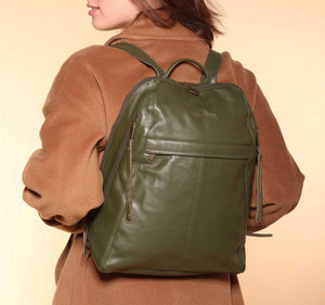 City Women's Olive Green Leather Backpack