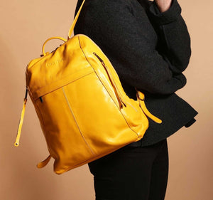 City Yellow Leather Backpack