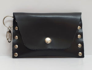 Clip-on Black Leather Coin Purse
