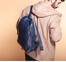 Load image into Gallery viewer, Men's Blue Leather Backpack
