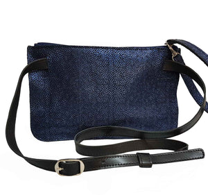 Iridescent Blue Leather Belt Bag