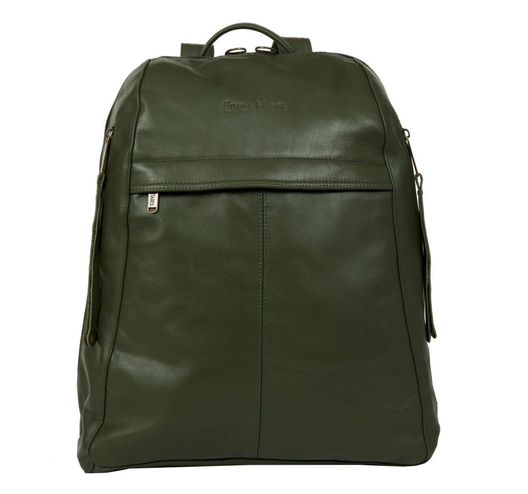 Men's Olive Green Leather Backpack