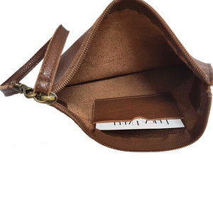 Pebbled Brown Leather Belt Bag