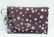 Load image into Gallery viewer, Silver Dot Purple Leather Clip-on Coin Purse