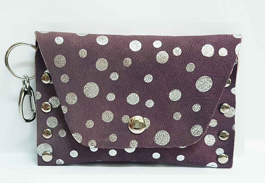 Silver Dot Purple Leather Clip-on Coin Purse