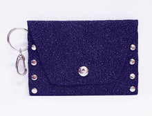 Load image into Gallery viewer, Sparkly Clip-on Purple Leather Coin Purse