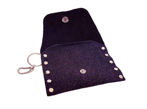 Sparkly Clip-on Purple Leather Coin Purse