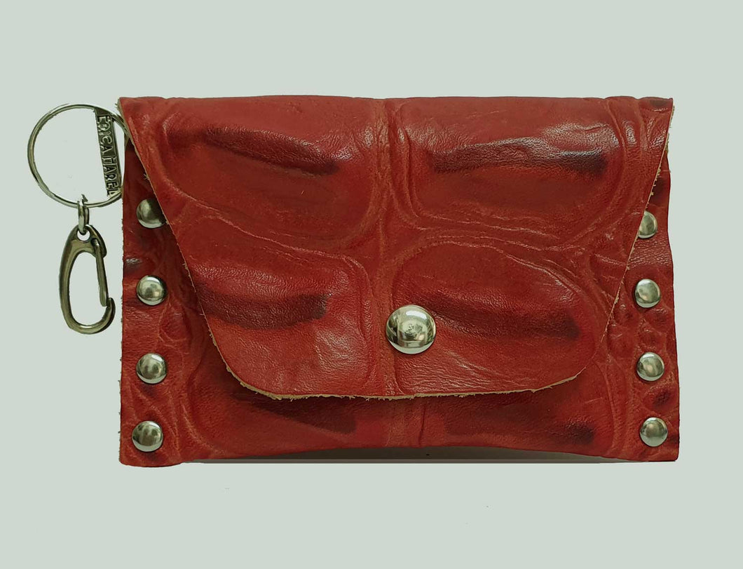 Red Croc Embossed Leather Coin Purse