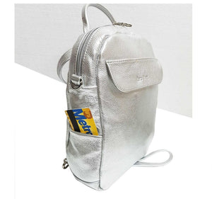 Silver Leather Mini Backpack Crossbody