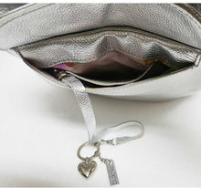 Load image into Gallery viewer, Silver Leather Mini Backpack Crossbody