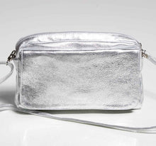 Load image into Gallery viewer, Silver Leather Crossbody Bag