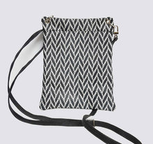 Load image into Gallery viewer, Chevron Gray White Leather Pouch