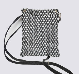 Chevron Gray White Leather Pouch