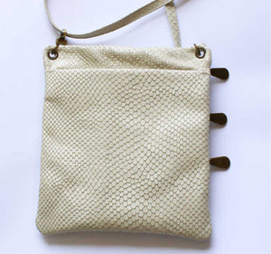 Cream Python Leather Pouch