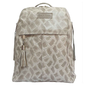 City Woman Taupe Python Leather Backpack