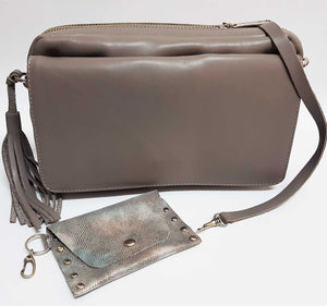 Taupe Leather Crossbody Bag