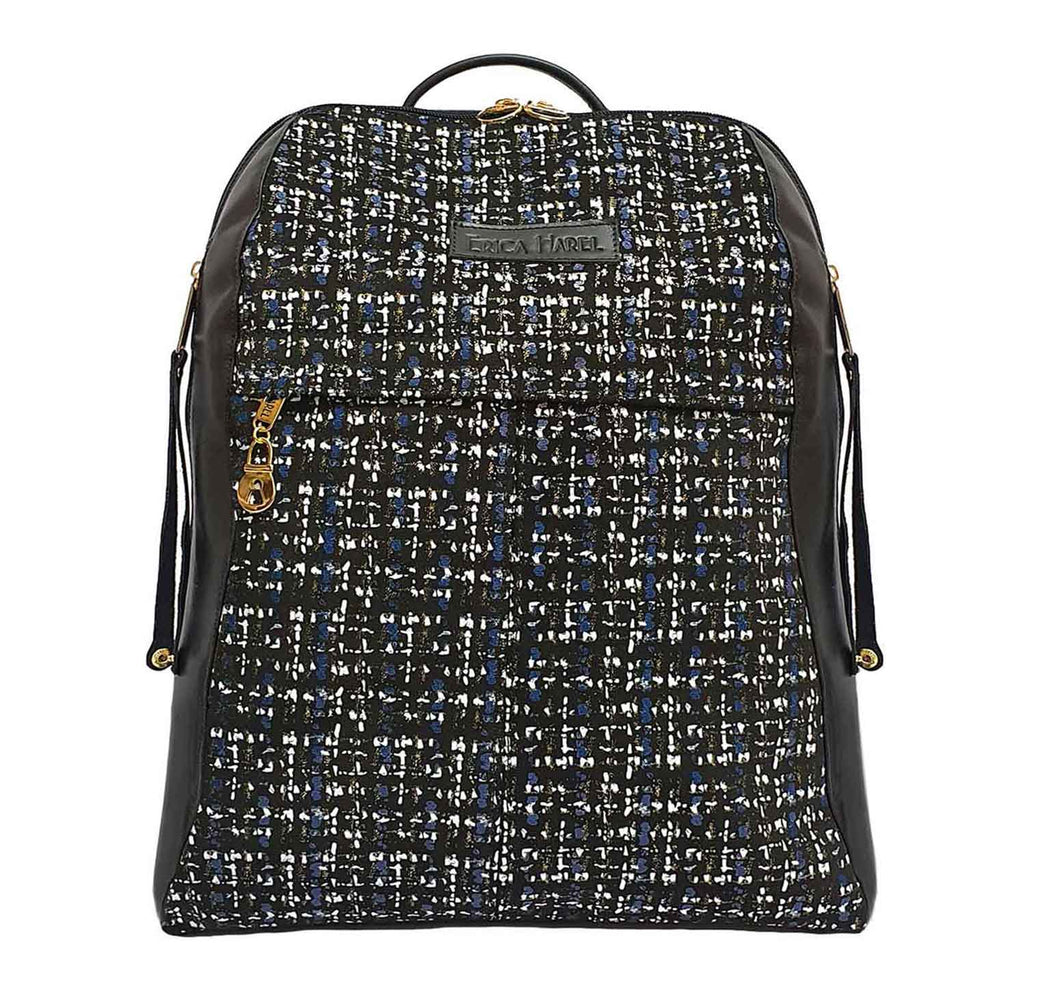 City Woman Tweed Leather Backpack