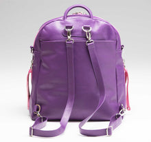 Load image into Gallery viewer, Purple Leather Convertible Backpack