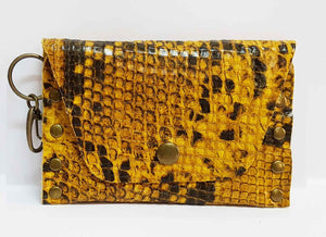 Yellow Brown Python Leather Coin Purse