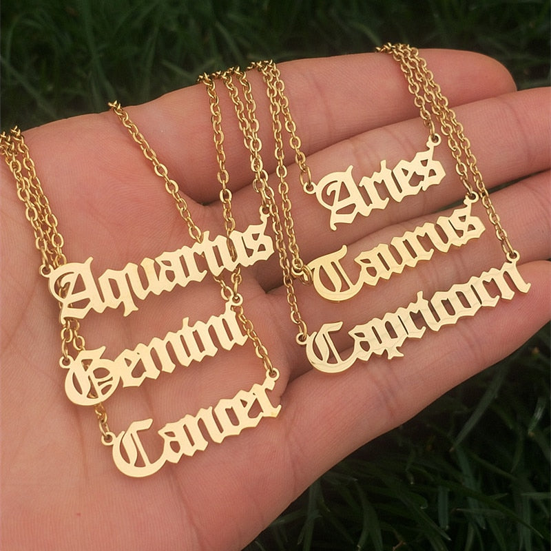 12 Zodiac Letters Pendant Necklace Horoscope Signs Necklace Friendship