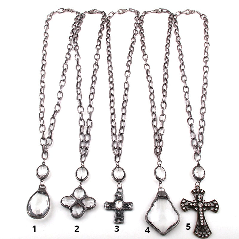 Fashion Bohemian Jewelry Black Gun Plated Chain Glass Pendant Cross Necklaces