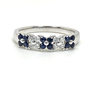 14K White Gold Genuine Blue Sapphire and Diamond Ring with Flower Design