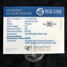 Load image into Gallery viewer, 14K White Gold 1ct Princess Natural Diamond Solitaire