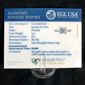 14K White Gold 1ct Princess Natural Diamond Solitaire