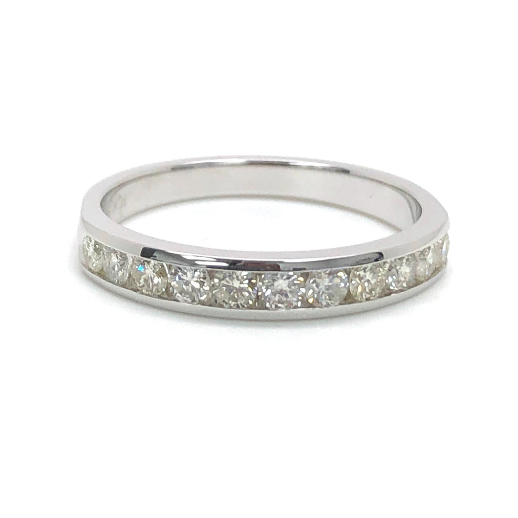 1/2ctw 10K White Gold Channel Set Natural Diamonds Wedding Band