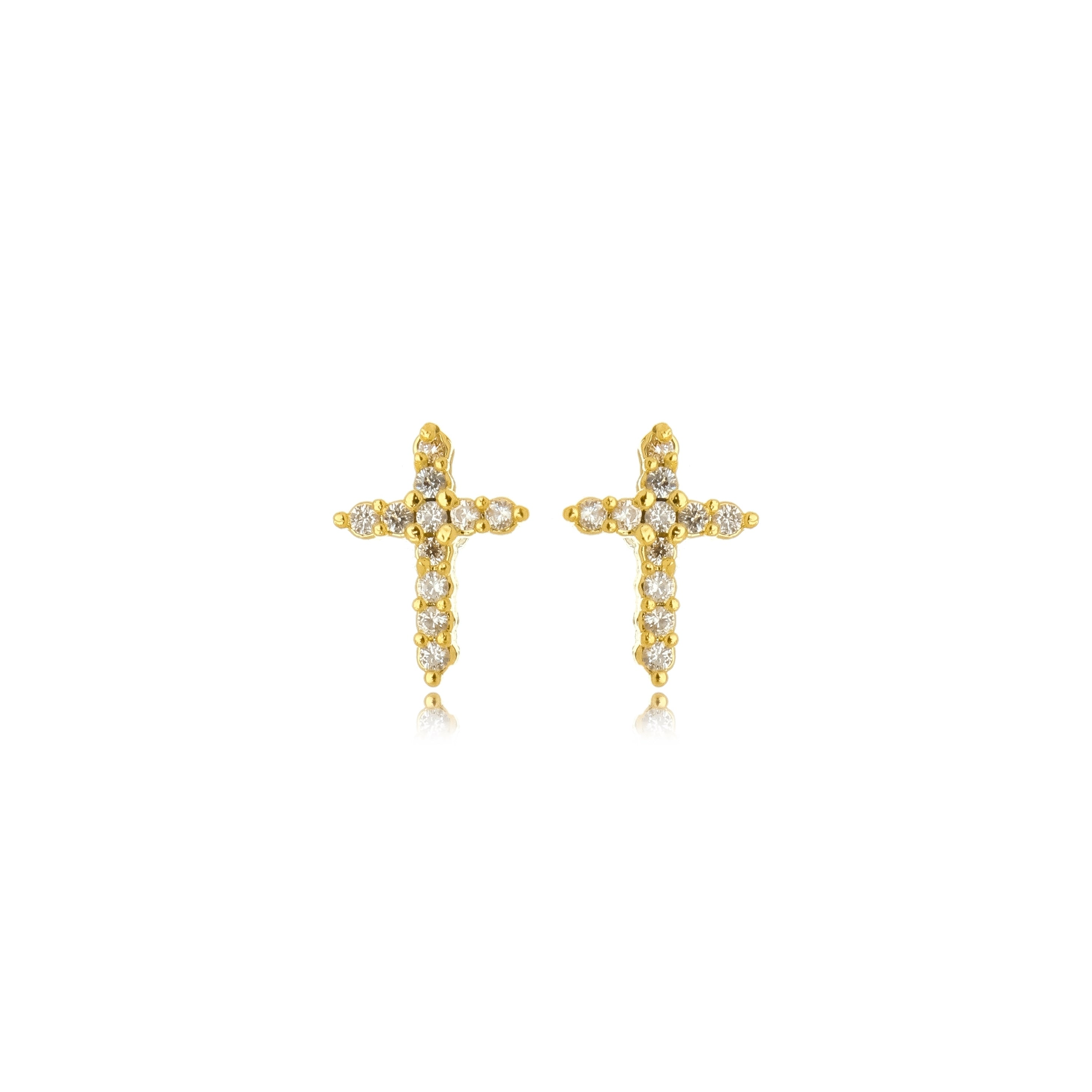 Small Cross Studded Earring in 18k Gold Plated