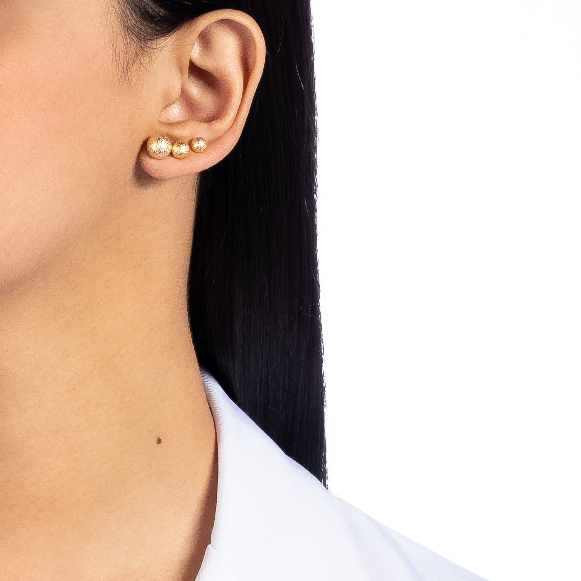 Texture Ball Stud Trio Earrings 18k Gold