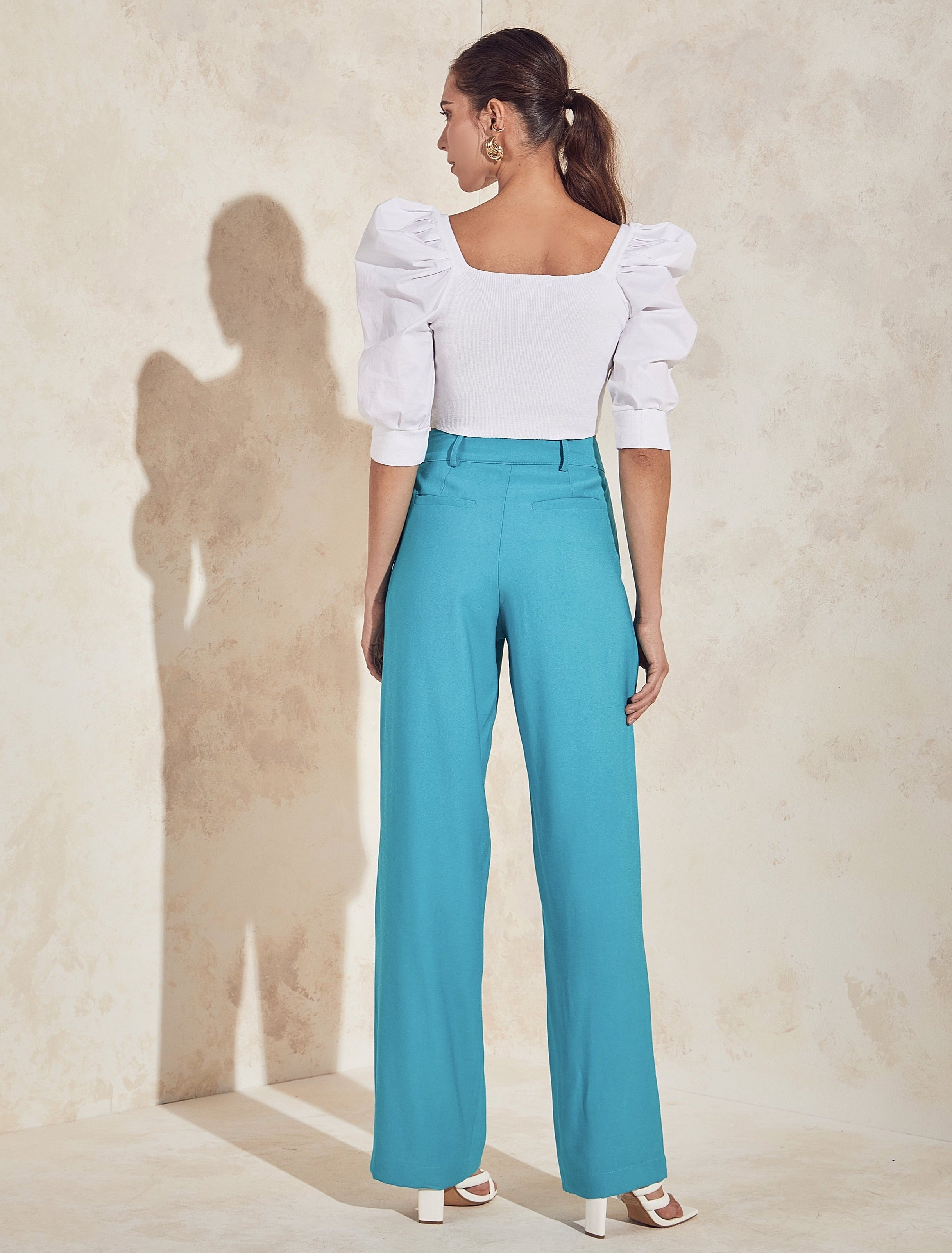 Adele Cut-out Wide Leg Pants in Teal