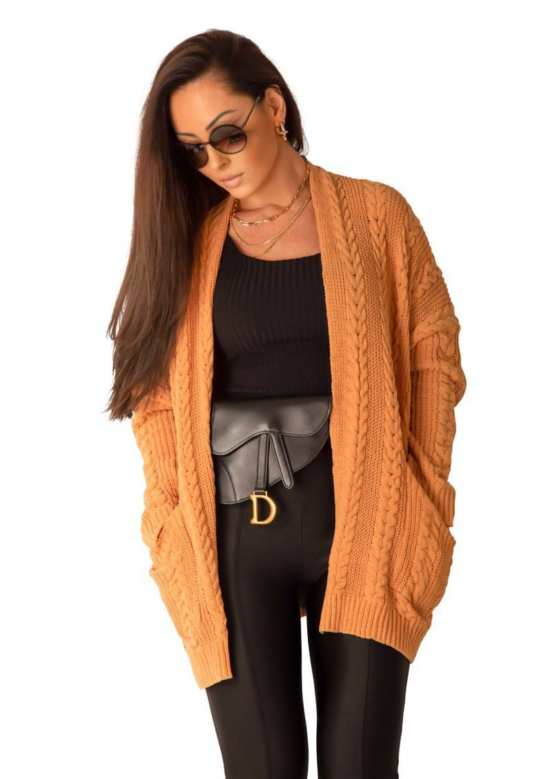 Wool Cardigan Sweater in Caramel