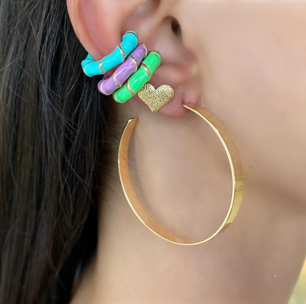 Enamel and Gold Ear Cuff