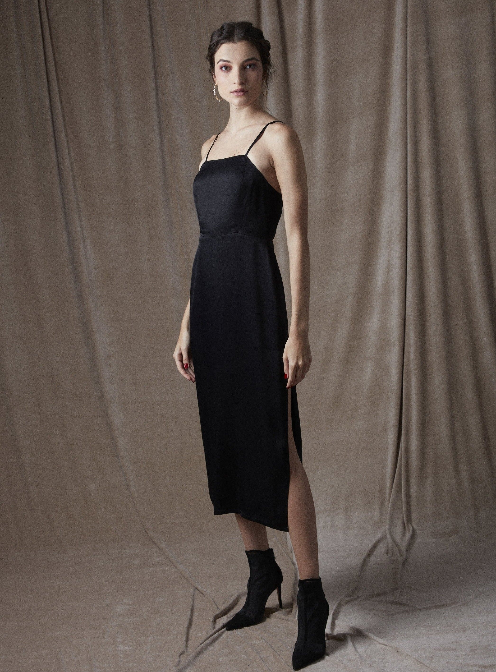 Let Your Love Flow Midi Slip Dress Black