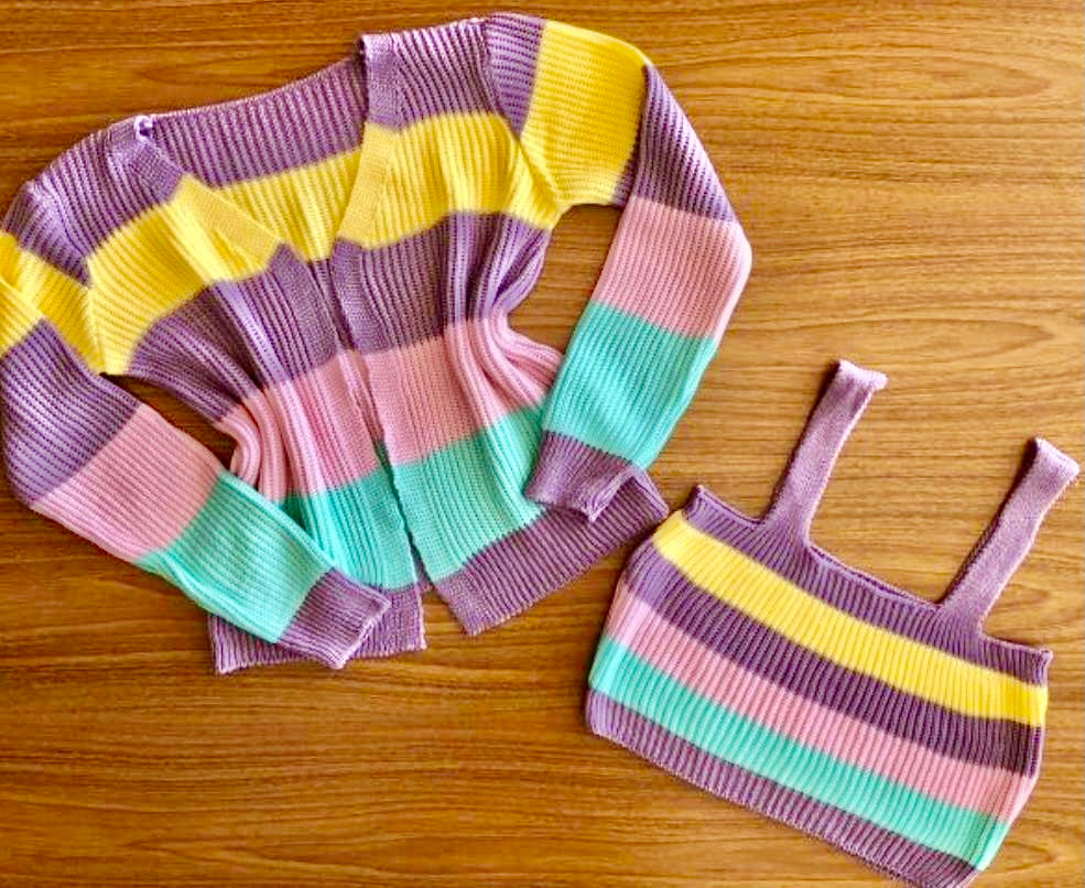 Candy-Coloured Rainbow Twin-Set