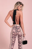 High Waist Crocodile Skin Pattern Flare Leg Pants