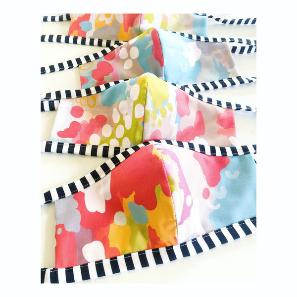 the adult tie mask in watercolor ikat