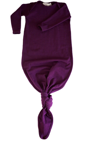 knotted baby gown in aubergine *with NEW fold-over mittens*