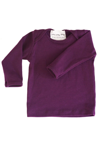 basic long sleeved tee in aubergine