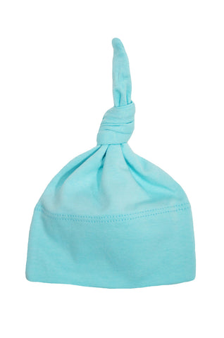 basic knotted beanie in aqua
