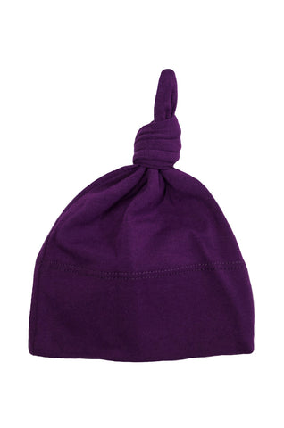 basic knotted beanie in aubergine